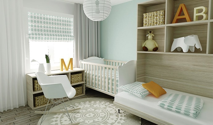 baby-bedroom-blue-polka-dots-wooden-shelves-white-sheets