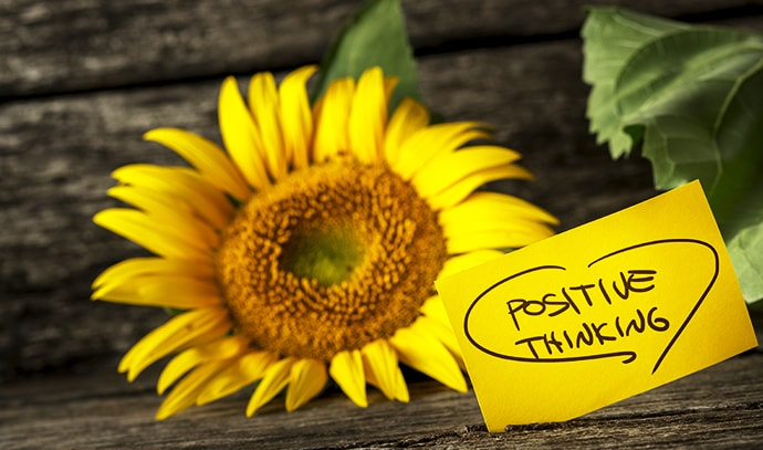 positive-thinking-message-beautiful-blooming-yellow-sunflower