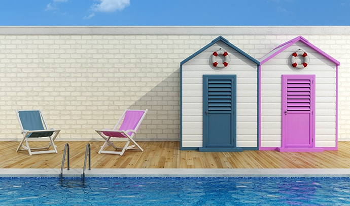 vacation-two-pool-romantic-scene-blue-pink-cabins-deck-chair-poolside