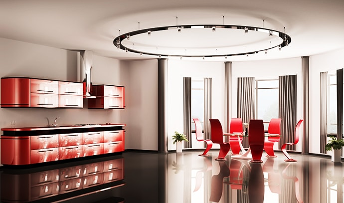 modern-red-kitchen-dining-table-six-chairs-3D