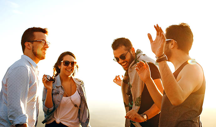 outdoor-happy-group-friends-sunset-summer